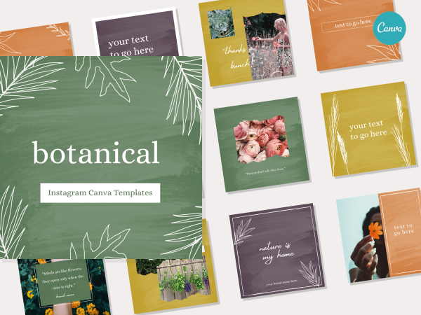 Botanical Plant Nature Instagram Social Media Canva Template